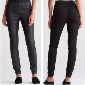 Eileen Fisher Petite Black Leather Panel Leggings